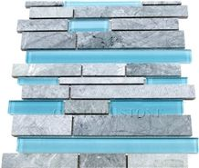 Blue and Grey Marble and Glass Mosaic Tile