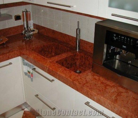 Rosso Castellamare Marble Kitchen Countertop, Rosso