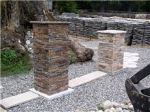 Cultured Stone Gate Post, Stone Fences, Cyanosis Green Slate Gate Post