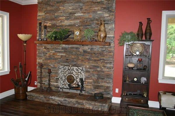 Stacked Stone Fireplace Surround China Apricot Brown