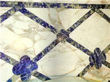 Blue Sodalite Granite, Calacatta Gold Marble Floor