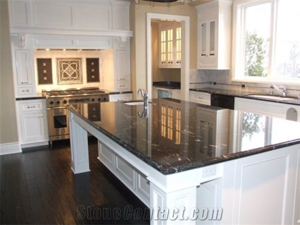 Kitchen Black Granite Countertops White Cabinets