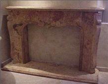 Ticul Naranja Limestone Fireplaces, Ticul Naranja Red Limestone Fireplace