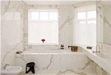 Calacatta Oro Marble Master Bathroom Design, Calacatta Gold White Marble Bathroom Design