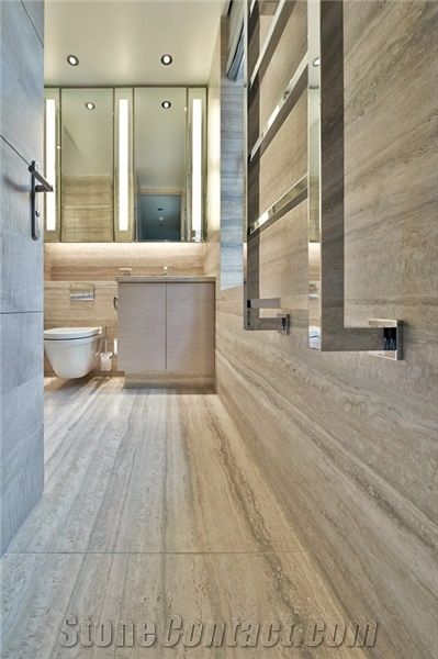 Travertino Silver Bathroom Design Wall And Floor Grey Travertine