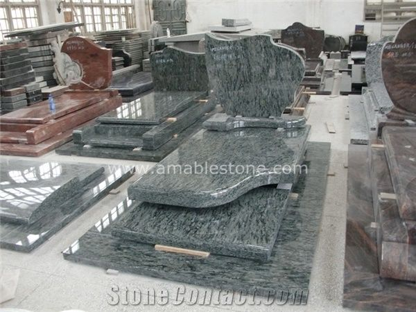 Olive Green Granite French Tombstone From China