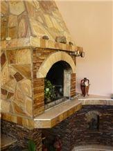 Szydlowiecki Yellow Sandstone Fireplace Surround