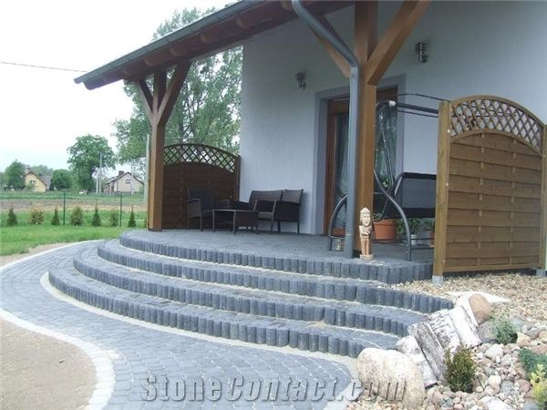 Grey Granite Terrace Cobbles And Deck Stairs, Zimnik Grey Granite Deck  Stairs
