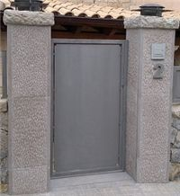 Grey Marble Gate Pillars, Gris Paloma Beige Marble Gate Pillars