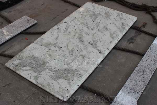Andromeda White Prefab Kitchen Polished Granite Table Tops