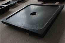 China Absolute Black Honed Granite Bath Shower Trays, Hebei Black Shower Trays