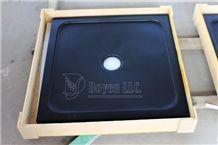 China Black Honed Granite Shower Trays Packaging, Pure Black Granite