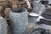 China Green Pedestal Basin, Green Granite Bath Accessories