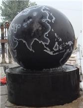 Black Granite Globe Carving Fountain, Shanxi Black