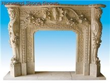 White Carving Marble Fireplace