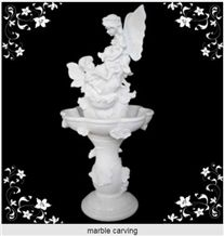 White Marble Carving Stone Angel Fountain