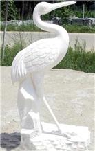 White Marble Crane, Waterbird Sculpture
