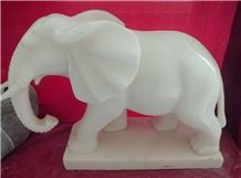 White Marble Elephant Sculpture, Elephant Statue