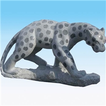 White Marble Leopard Carving Statue