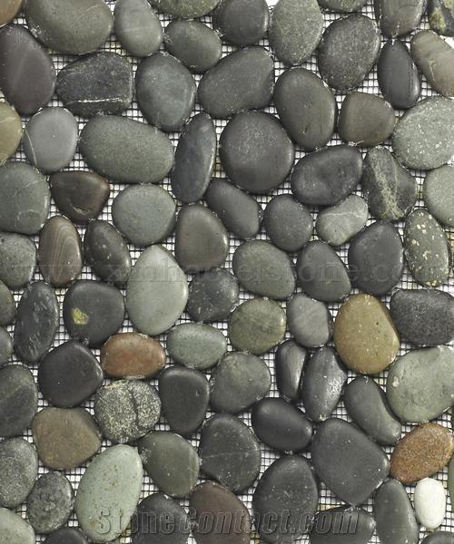 Natural Pebble On Net Mosaic Mixed Pebble Chipped Mosaic