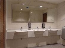 Bianco Covelano Marble Commercial Bathroom Vanity Tops, Bianco Covelano Vena Oro White Marble