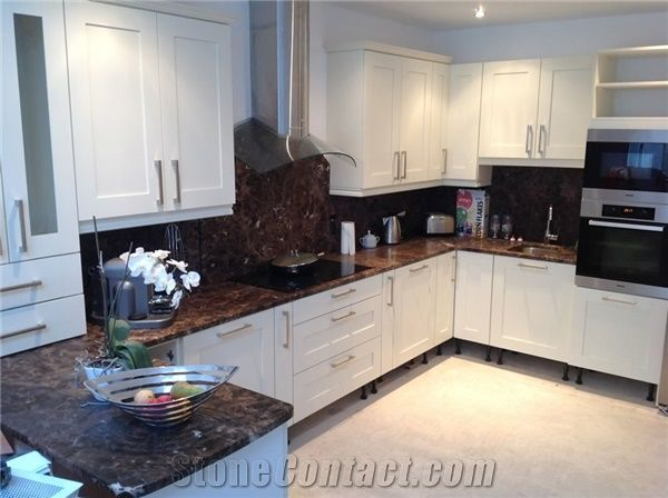 dark emperador marble kitchen countertop