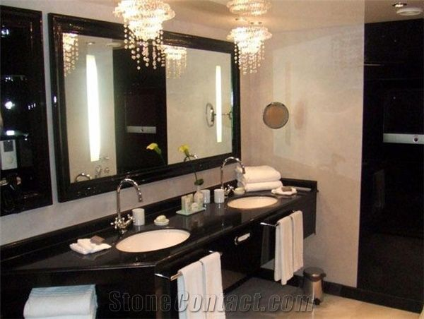 Absolute Black Granite Commercial Bathroom Design