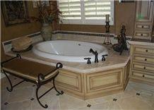Beaumaniere Limestone Bath Tub Deck Surround