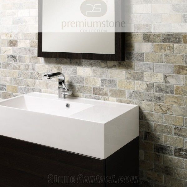 Silver Grey Travertine Mosaic 4 8x9 8cm