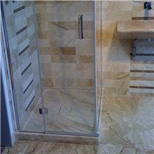 Brushed Tigrato Marble Bathroom Shower Design