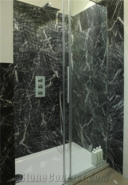 Nero Marquina Marble Shower Wall Covering Slabs Tiles