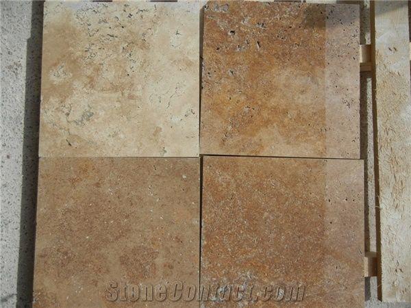 Roman Silver Dark Travertine Tiles Slabs Brown Polished Travertine