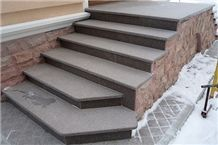 Ladoga Red Granite Flamed Porch Stairs