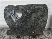 Chinese Factory Oliver Green Granite Line Carving Memorial Plaques, Chinese Green Granite Memorials