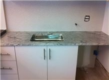Pantry Countertop Bianco Gioia Marble with -Penny Round Mosaic Backsplash