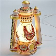 Handcrafted Cutwork Marble Lantern with Gold Paint and Kundan Work, Marble Lamp, Marble Lamp Manufacturers, Marble Lamp, Marbil Yellow Marble Home Decor