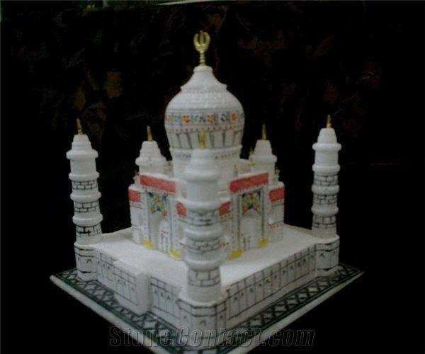 Marble Taj Mahal Replica Miniature Hand Carved Decorative