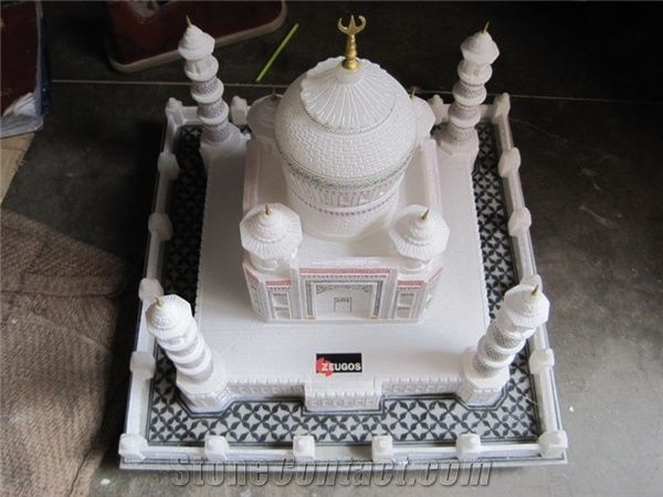 White Marble Hand Carved Colored Taj Mahal Replica Art
