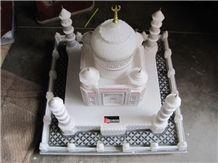 White Marble Hand Carved Colored Taj Mahal Replica Art Handicraft Stone Craft, Tajmahal White Marble Art Works