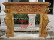 Brown Wooden Marble Fireplace, Brown Marble Fireplaces