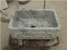 Italy Bianco Carrara White Marble Sink,White Marble Round Washing Basin,Square Stone Vessel Sinks