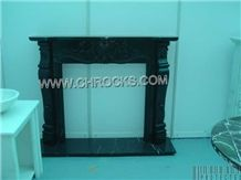 Nero Marquina Marble Fireplace, Black Marble Fireplaces