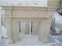 Royal Batticino Beige Marble Fireplace