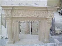 Royal Batticino Beige Marble Fireplace