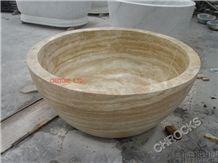 Yellow Beige Travertine Bathtub, Beige Travertin Oval Sinks