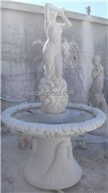 Yunnan White Marble Statue Fountain, Han Jade White Marble Fountains