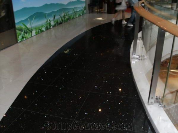 Twinkle Star Black Quartz Stone Floor Tiles From China