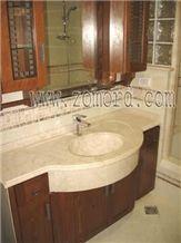 Honed Qabatiya White Limestone Vanity Top