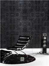 3d Black Crocodile Stone Wall Panel