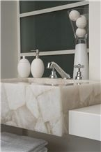 Puro Concetto White-Quartz Semiprecious Stone Bathroom Sink